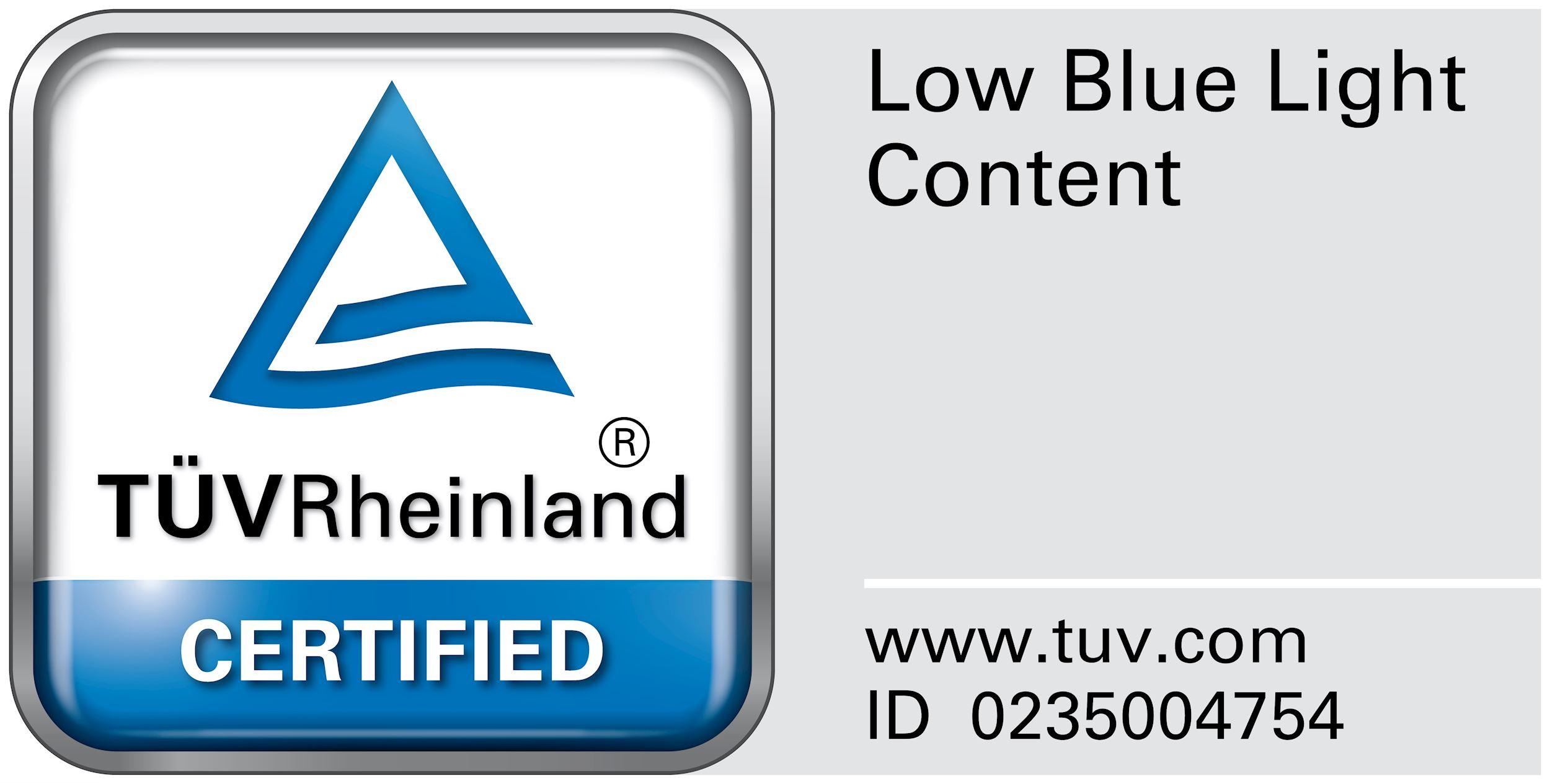 Wyświetlacz z certyfikatem TUV Low blue light